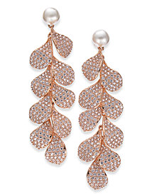 Danori Cubic Zirconia Petal & Imitation Pearl Linear Drop Earrings, Created for Macy's