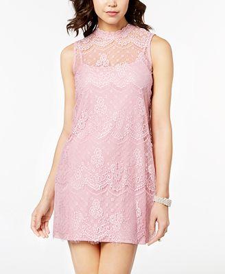 As U Wish Juniors' Mock-Neck Lace Shift Dress