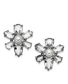 kate spade new york Silver-Tone Crystal & Imitation Pearl Flower Stud Earrings