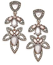 I.N.C. Rose Gold-Tone Pavé & Pink Stone Openwork Drop Earrings, Created for Macy's