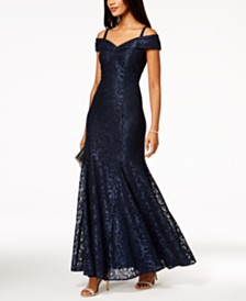 R & M Richards Petite Off-The-Shoulder Lace Gown