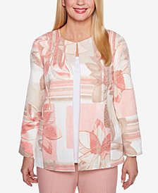 Alfred Dunner Petite La Dolce Vita Floral-Print Collarless Jacket
