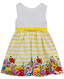 Rare Editions Floral-Border Dress, Baby Girls