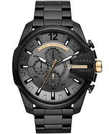 Men's Chronograph Mega Chief Black Stainless Steel Bracelet Watch 51mm
