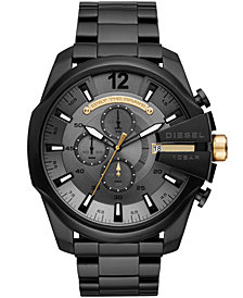 Diesel Men's Chronograph Mega Chief Black Stainless Steel Bracelet Watch 51mm