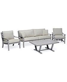 Tara Aluminum Outdoor 4-Pc. Seating Set (1 Sofa, 1 Club Chair, 1 Inside Rocker Chair & 1 Coffee Table), Created for Macy's