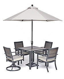"Marlough II Outdoor Aluminum 5-Pc. Dining Set (36"" Square Dining Table, 2 Dining Chairs and 2 Swivel Rockers) with Sunbrella Cushions, Created for Macy's"