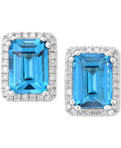 Blue Topaz (2-1/4 ct. t.w.) & Diamond (1/6 ct. t.w.) Stud Earrings in 14K White Gold