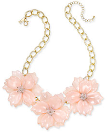 "I.N.C. Gold-Tone Imitation Large Flower Statement Necklace, 19"" + 3"" extender, Created for Macy's"