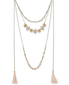 "I.N.C. Gold-Tone Flower, Bead & Tassel Multi-Layer Necklace, 34"" + 3"" extender, Created for Macy's"