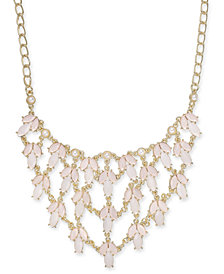 "I.N.C. Gold-Tone Pink Stone & Imitation Pearl Statement Necklace, 19"" + 3"" extender, Created for Macy's"