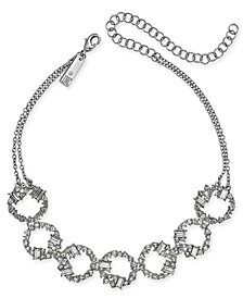 "I.N.C. Silver-Tone Crystal Link Choker Necklace, 11"" + 4"" extender, Created for Macy's"