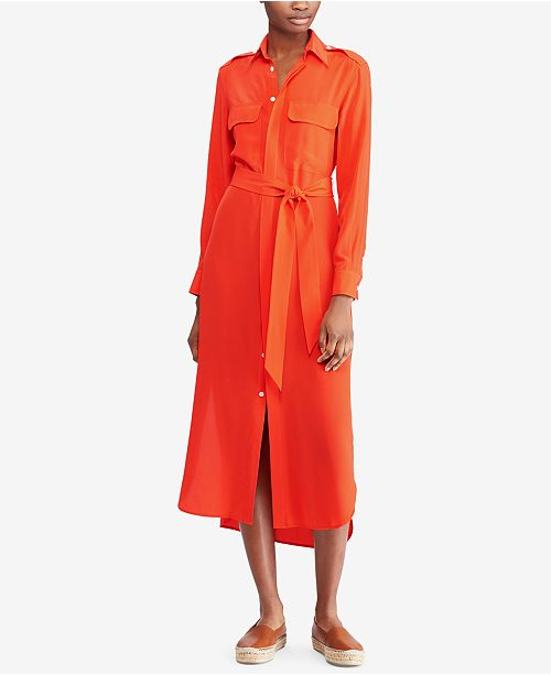 Polo Ralph Lauren Belted Silk Shirtdress