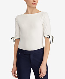 Lauren Ralph Lauren Tie-Sleeve Top