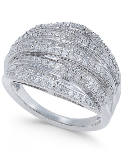 Diamond Multi-Row Cluster Ring (1 ct. t.w.) in Sterling Silver