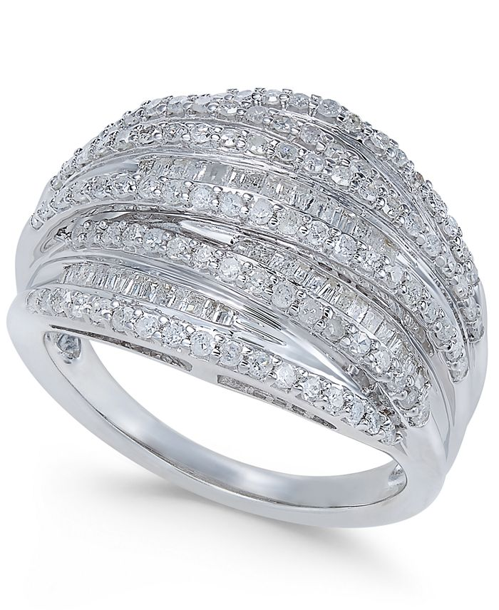 Macy's - Diamond Multi-Row Cluster Ring (1 ct. t.w.) in Sterling Silver
