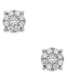 Diamond Cluster Stud Earrings (1/4 ct. t.w.) in 14k White Gold