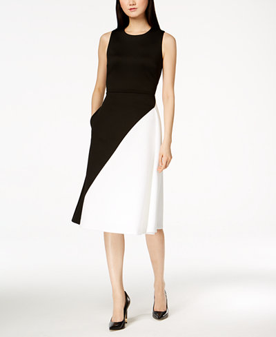 Calvin Klein Colorblocked Scuba Midi Dress