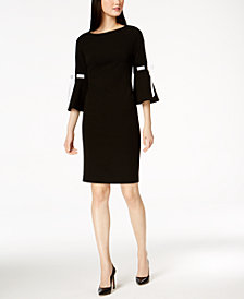 Calvin Klein Ribbon Bell-Sleeve Sheath Dress