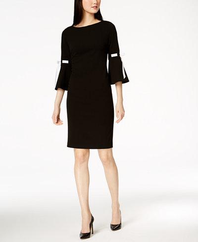 Calvin Klein Ribbon Bell-Sleeve Sheath Dress