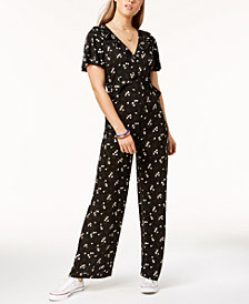One Hart Juniors' Printed Ruffled Jumpsuit, Created for Macy's