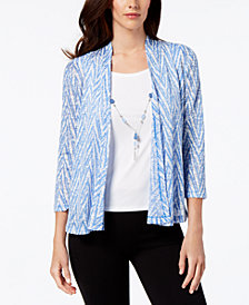 Alfred Dunner Petite Layered-Look Printed Necklace Top