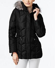 Larry Levine Faux-Fur-Trim Pillow-Collar Puffer Coat