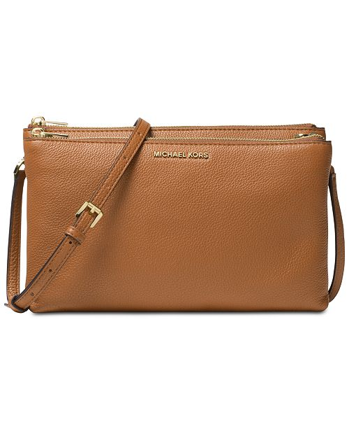 b9d0bfd8d03d Michael Kors Adele Double Zip Pebble Leather Crossbody & Reviews ...