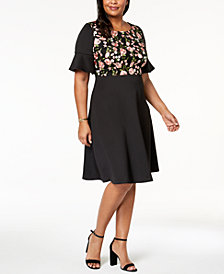 sangria Plus Size Embroidered Flared-Sleeve Dress