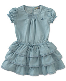 Calvin Klein Tiered Ruffle Denim Dress, Baby Girls