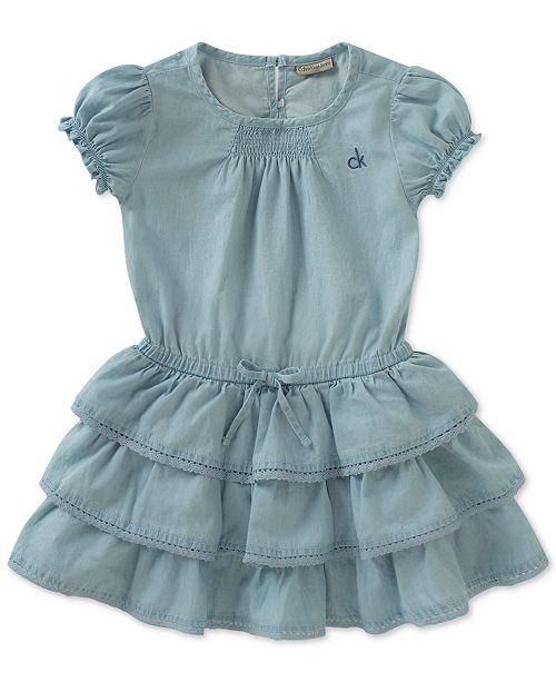 1f08279d55 Calvin Klein Tiered Ruffle Denim Dress