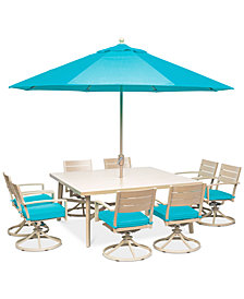 "CLOSEOUT! Beach House Outdoor  9-Pc. Dining Set (68"" Square Dining Table and 8 Swivel Rockers Chairs), with Sunbrella® Cushions, Created for Macy's"