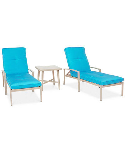 Beach House Outdoor 3-Pc. Chaise Set (2 Chaise Lounges and 1 End Table), with Sunbrella® Cushions, Created for Macy's