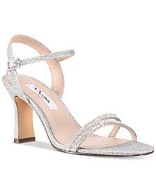 Nina Avalon Embellished Ankle-Strap Evening Sandals