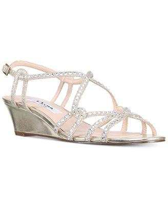Nina Finola Glitter Ankle Strap Wedge Sandals