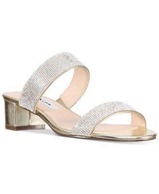 NINA Georgea Rhinestone-Encrusted Slide Sandals Women's Shoes