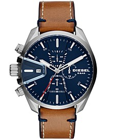 Men's Chronograph MS9 Chrono Brown Leather Strap Watch 47mm