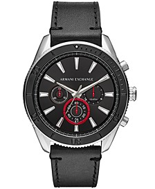 Men's Chronograph Black Leather Strap Watch 46mm