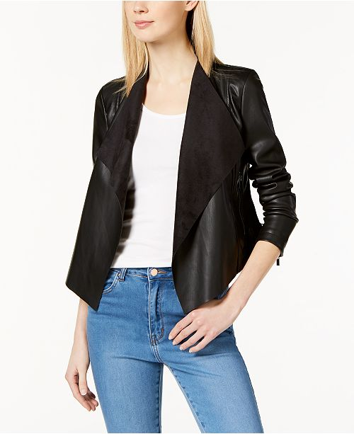 French Connection Faux-Leather Waterfall Jacket