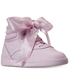 Reebok Little Girls' Freestyle Hi Satin Bow Casual Sneakers from Finish Line