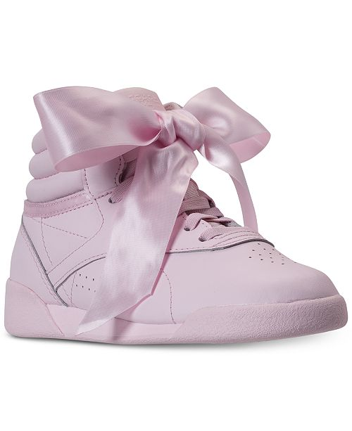 7ebf41cd2f7 ... Reebok Little Girls  Freestyle Hi Satin Bow Casual Sneakers from Finish  ...