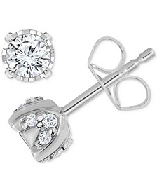 Pavé Diamond Stud Earrings (3/4ct. t.w.) in 14k White Gold