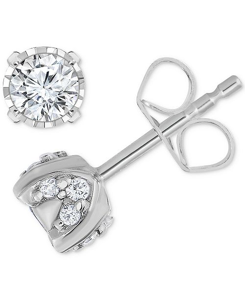 TruMiracle Pavé Diamond Stud Earrings (3/4ct. t.w.) in 14k White Gold