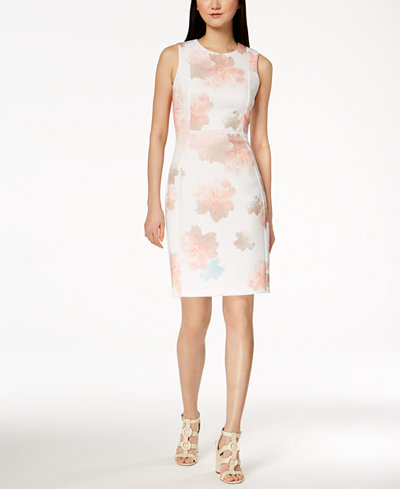 Calvin Klein Floral-Print Scuba Sheath Dress