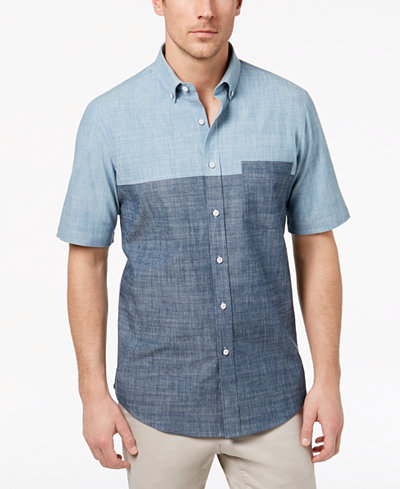 Club Room Men's Colorblocked Chambray Pocket Shirt, Created for Macy's