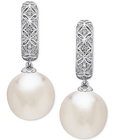 Honora Style Cultured White Ming Pearl (12mm) Drop Earrings in Sterling Silver