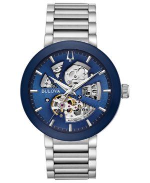 BULOVA Men'S Modern Stainless Steel Bracelet Watch 42Mm in Blue/Silver
