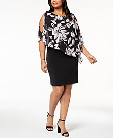 Connected Plus Size Chiffon-Cape Sheath Dress