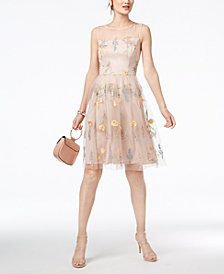 Jessica Howard Petite Floral-Embroidered Illusion Dress