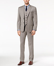 CLOSEOUT! Lauren Ralph Lauren Men's Classic-Fit Ultra-Flex Stretch Taupe Birdseye Vested Suit